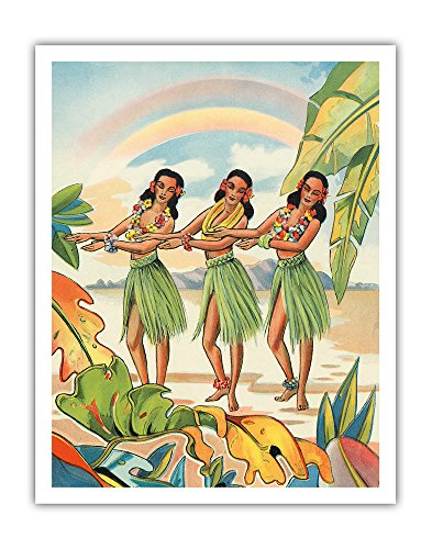 Aloha Nui Loa from Hawaii - Hula Girls - Vintage Hawaiian Airbrush Art by Ted Mundorff c.1930s - Hawaiian Fine Art Print - 11in x 14in