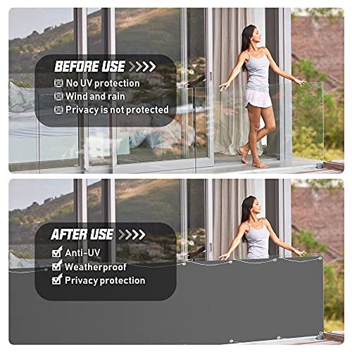 Balkon Sichtschutz, 0,75 x 6m Balkonabdeckung Balkonsichtschutz Balkonverkleidung blickdichte Windschutz und UV-Schutz, mit Ösen, Nylon Kabelbinder und Seil, 100% Schutz der Privatsphäre für Balkon
