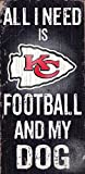 Kansas City Chiefs Wood Sign - Football and Dog 6x12 - Licensed NFL Merchandise - Kansas City Chiefs Collectible