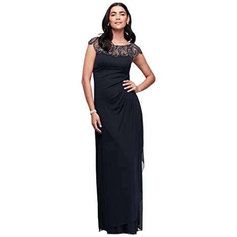 Long Party Mother Bride/Groom Dress Side Draping Style XS7761 at Amazon Womens Clothing store:
