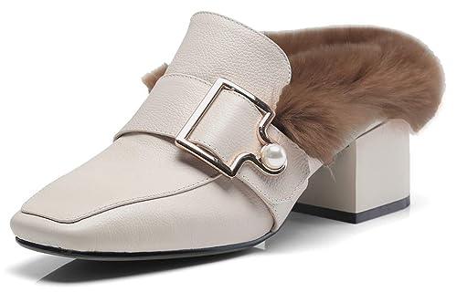 SimpleC Calzado Forro de Piel sintética Hebilla con Perla sintética Mocasines Mules con 5 cm de Altura del talón para Mujeres: Amazon.es: Zapatos y ...