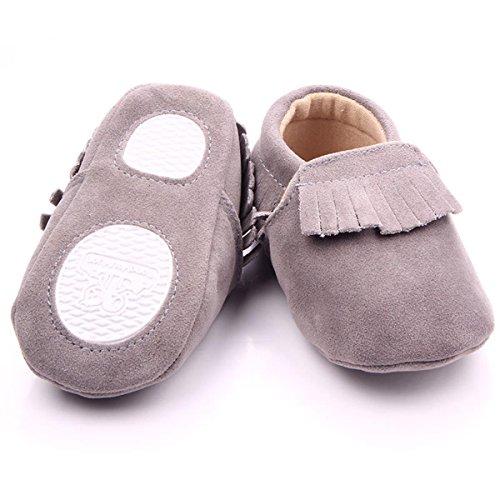 Happy Cherry Zapatos Bebés Niños Niñas Aprender a Andar de Mate PU con Borlas Suela Blanda Antideslizante Gris