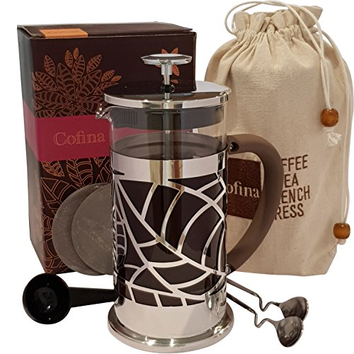 Cofina French Coffee Press Bundle | 34 oz French Press Coffee Maker | with Extra Thick Borosilicate Glass Carafe | 4 Stage Stainless Steel Filtration | Perfect as Cold Brew Coffee Maker & Tea Maker