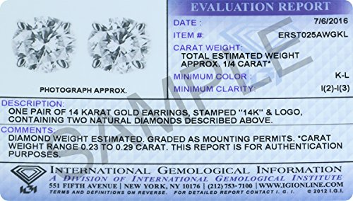 1 4 Carat TW IGI Certified Round Diamond Solitaire Stud Earrings in 14K White Gold