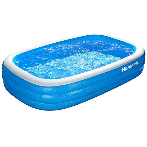 "Homech Family Inflatable Pool, Swimming Pool for Baby, Kiddie, Kids, Adult, Infant, Toddler, 118"" X 72"" X 20"", for Ages 3+,Outdoor, Garden, Backyard, Summer Water Party"