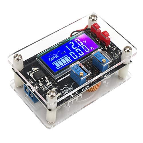 (DC Buck Module, DROK Adjustable Buck Converter Step Down Voltage Regulator 6V-32V 30V 24V 12V to 1.5-32V 5V 5A LCD Power Supply Volt Reducer Transformer Module Board with USB Port Protective Case)
