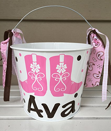 Personalized 5 quart Halloween pail or gift bucket- cowboy boots design to match your child.s -