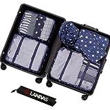 Packing Organizer,Lanivas 7 Piece Portable Travel Luggage Cubes Durable Weekender Navy Star