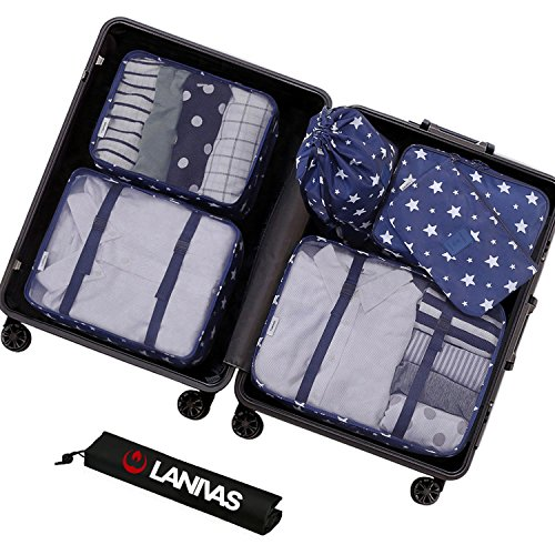Packing Organizer,Lanivas 7 Piece Portable Travel Luggage Cubes Durable Weekender Navy Star by Lanivas