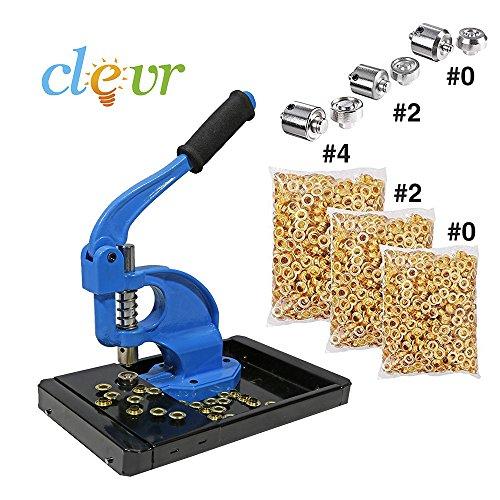 ClevrTM Hand Press Grommet Machine Catch Tray 900 Grommets & 3 Dies #0 #2 #4 Kit (Industrial Grommet Machine compare prices)