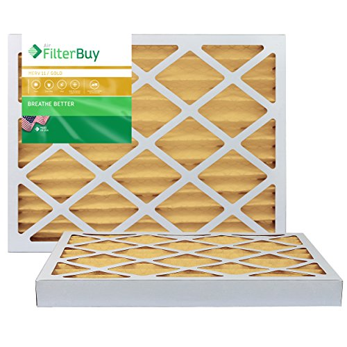 FilterBuy 16x20x2 MERV 11 Pleated AC Furnace Air Filter, (Pack of 2 Filters), 16x20x2 - Gold