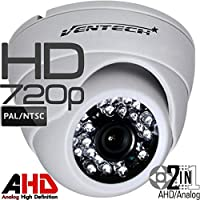 Ventech HD 1.0MP 720P AHD Dome Security Camera indoor 2.8mm wide angle Lens 24 IR LEDs ICR Auto Day Night Video Surveillance Work with Analog and AHD DVRs CAMAHD