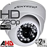 Ventech HD 1.0MP 720P AHD Dome Security Camera outdoor 3.6mm wide angle Lens 24 IR LEDs ICR Auto Day Night Video Surveillance Works with Analog and AHD DVRs CAMAHD Waterproof Metal Ball