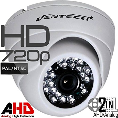 Ventech HD 1.0MP 720P AHD Dome Security Camera outdoor 2.8mm wide angle Lens 24 IR LEDs ICR Auto Day Night Video Surveillance Work with Analog and AHD DVRs CAMAHD metal ball waterproof