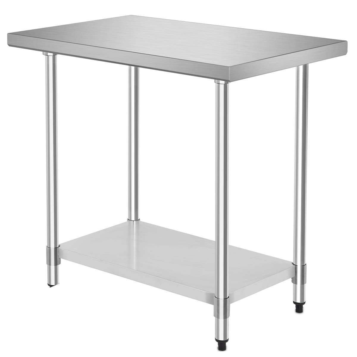 """36"""" x 24"""" NSF Stainless Steel Food Prep Table, Heavy Duty Commercial Kitchen Food Prep Table & Work Table, Wheels Installable, Adjustable Shelf, by WATERJOY"""