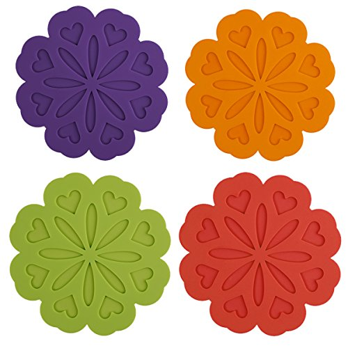 ME.FAN 4 Set Silicone Pot Holders, Trivet Mat, Jar Opener, Spoon Rest and Kitchen Trivet, Non Slip Flexible, Durable, Heat Resistant Dishwasher Safe Kitchen Trivet and Pot Pads-Deep Color