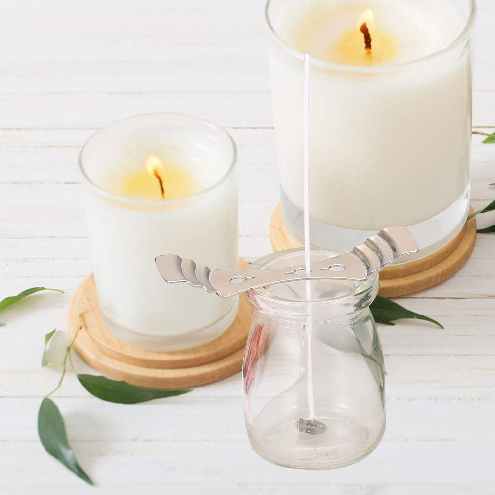20 Pieces//set Candle Wicks Pre-waxed Wick with Candle Wick Centering Device for Diy Candle Making 100mm Low Smoke Natural Candle Wick for Diy Christmas Gift