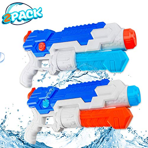 HD JUNTUNKOR 2-Pack Super Water Guns for Kids, Squirt Guns for Adults, 700cc Capacity 40 Ft Long Range Water Soakers Blaster Pool Toys for Teens, Beach, Swimming Pool Fighting Air Cannon Toy