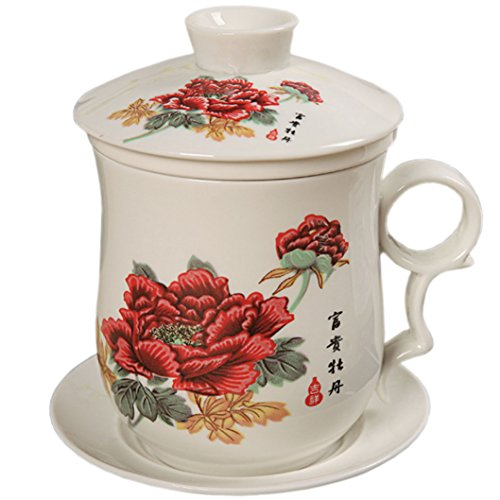 BandTie Convenient Travel Office Loose Leaf Tea Brewing System-Chinese Jingdezhen Blue and White Porcelain Tea Cup Infuser 4-Piece Set with Tea Cup Lid and Saucer (Red Peony) (Peony Teacup Set)