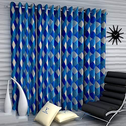 Fashion String 4 Pieces Window Curtain Set, 5 feet Long,Blue