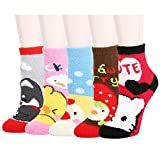 5 Pack Anti-Slip Fluffy Fuzzy Slipper Socks, Cute Animal Colorful Indoors Cartoon Crew Winter Socks for Women Girls
