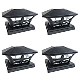iGlow 4 Pack Black Outdoor Garden 6 x 6 Solar SMD LED Post Deck Cap Square Fence Light Landscape Lamp PVC Vinyl Wood