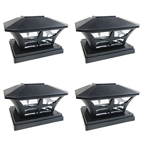 - iGlow 4 Pack Black Outdoor Garden 6 x 6 Solar SMD LED Post Deck Cap Square Fence Light Landscape Lamp PVC Vinyl Wood