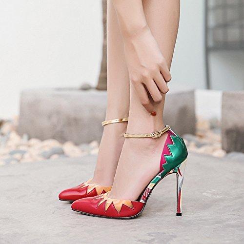 Easemax Kvinna Sexig Kontrasterande Färg Fotled Spänne Rem Spetsig Tå Hög Stilett Klack Sandaler Färg