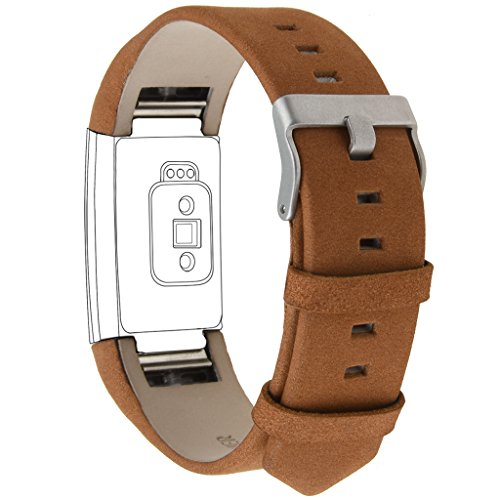 "Henoda Genuine Leather Bands for Fitbit Charge 2, Charge 2 Strap Style (Brown, Fit wrist size 6.1:"" - 8.5"")"