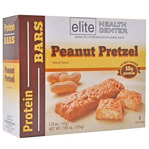 Elite Health Center Peanut Pretzel Protein Bar, Low Sugar, HCG Friendly, 10g Protein, 1.13oz, 7 Count
