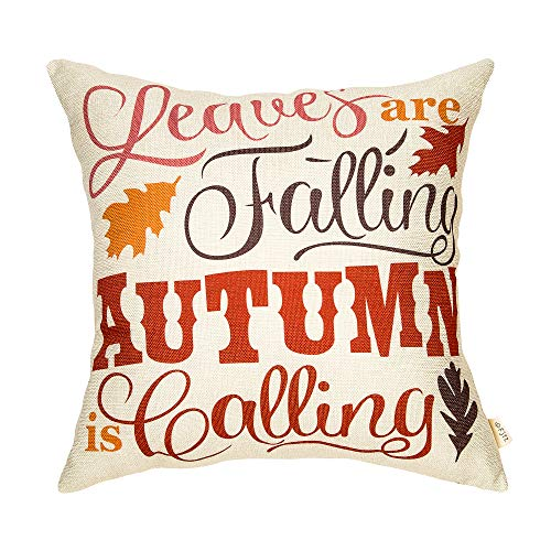 Autumn Leaves Pillow - Fjfz Leaves are Falling Autumn is Calling Retro Farmhouse Style Thanksgiving Day Sign Cotton Linen Home Decorative Throw Pillow Case Cushion Cover Words Sofa Couch, 18