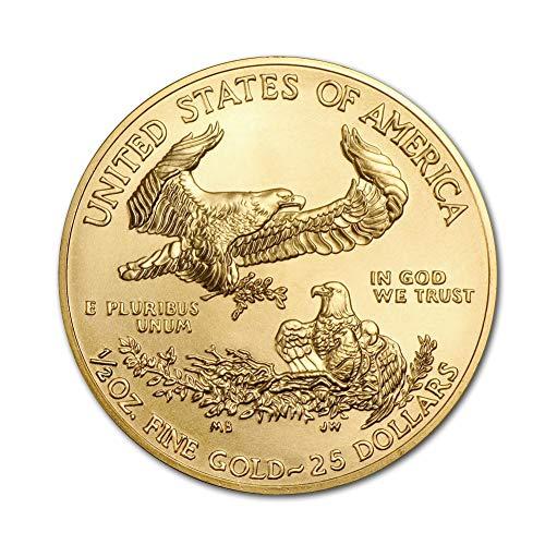 2020 1/2 ounces Gold American Eagle BU In Coin Flip With CoinFolio COA $25 Brilliant Uncirculated