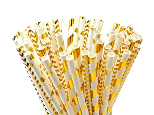 PARTYSOME 120 Gold Biodegradable Paper Straws, For Boy/Girl Baby/Bridal Shower, Snowflake, Anniversary, 21st/30th/50th Birthday, Engagement, Sweet 16, Bachelorette Party, Wedding Decorations Supplies for $<!--$7.99-->