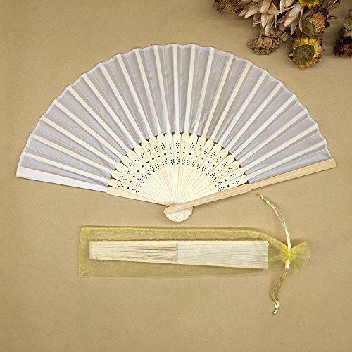 Beige 100Pcs/Lot Wedding Gift Bamboo Hand Fan With Gift Bag Silk Handmade Fan by Hand Fan