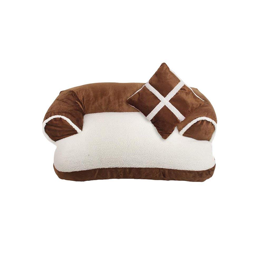 Brown Pet Bed Beds FS448 Comfortable Pillow Cats and Dogs Pet Bed Square Shape Four Seasons Universal Safe and Soft (color   Black)