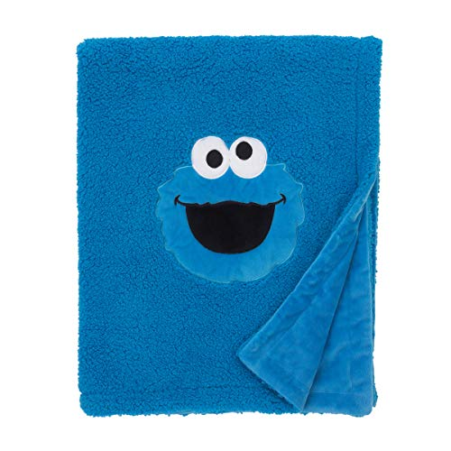 (Sesame Street Cookie Monster Blue Soft Plush Sherpa Toddler Blanket with Applique, Blue, White, Black)