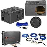 Polk Audio MM1042SVC 10 1200w Car Subwoofer+Vented Sub Box+Amplifier+Amp Kit