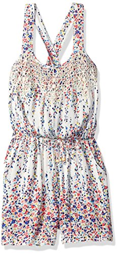 Speechless Big Girls' Printed Gauze Romper, Ivory/Blue, XL
