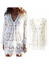 Vandot Boho Bikini Cover Up Women Crochet Lace Hollow Beach Tunic Dress Swimsuit Summer Long Sleeve Loose V-Neck T-Shirt Casual Tunic Tunic Beach Tops Swimwear Sun Protection, White, Size S M L