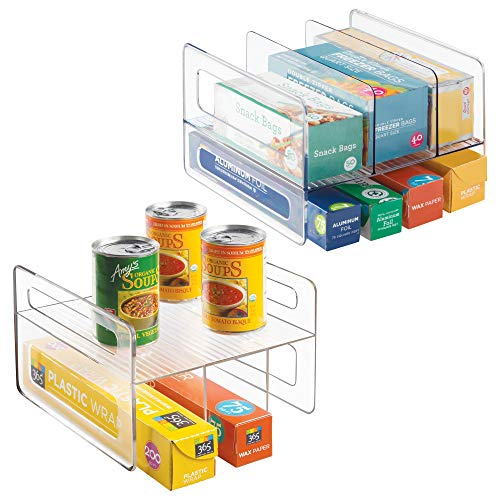 mDesign Kitchen Storage Organizer Rack Holder Shelf for Kitchen Cupboard cabinet organizing of Aluminum Foil, Sandwich Bags, Plastic Wrap, Wax Paper Rolls- Set of 2, Clear
