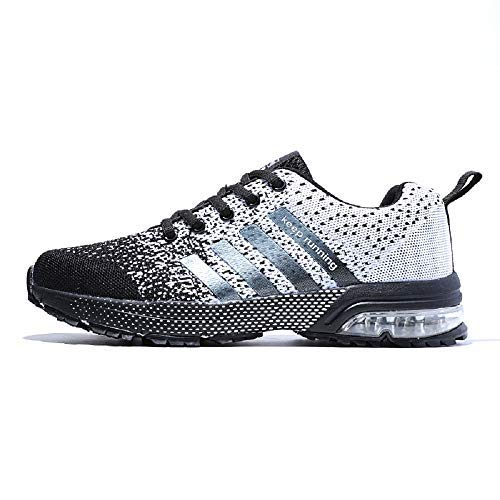 XIDISO Running Shoes Mens Athletic Tennis Shoe Breathable Air Cushion Men's Sneakers Sport Cross Training Size 10 Black/White