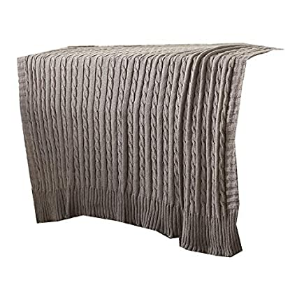 Amazon Isunshine Cotton Knitted Cable Throw Soft Warm Cover
