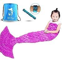 Airdom Mermaid Tail Blanket for Kids Toys Little Crochet...