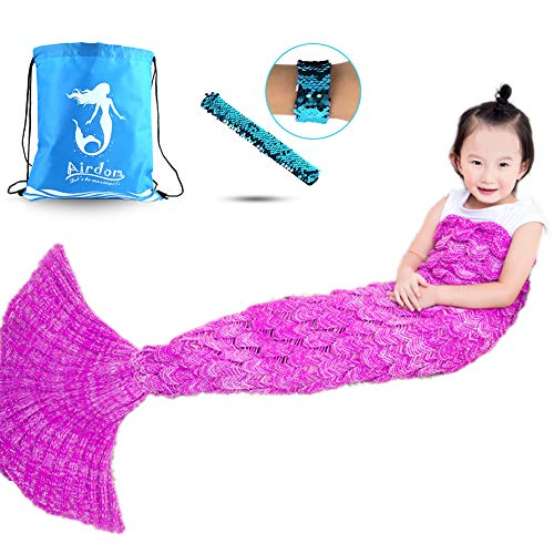 Airdom Mermaid Tail Blanket for Kids Toys Little Crochet Mermaid Blankets Best Birthday for Girls All Seasons Sleeping Throws 55.18 inch x 27.56 inch(A-Scaly-Kids-Bright Pink)