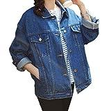 Loose Women Blue Washed Pocket Button Boyfriend Denim Jacket Coat(M-Chest...