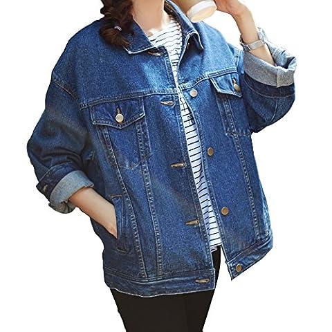 Loose Women Blue Washed Pocket Button Boyfriend Denim Jacket Coat(M-Chest 42.5'', Blue) - Denim Coat Jacket