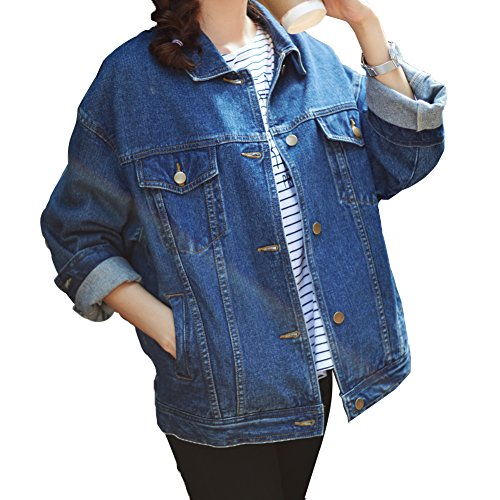 Loose Women Blue Washed Pocket Button Boyfriend Denim Jacket Coat(L-Chest 44'', Blue) - Denim Varsity Jacket