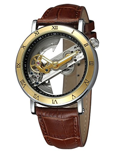 Gute Mens Automatic Watch,Minimalist Dial Analogue Display and Silver Tone Men Wrist Watch (Gold Brown)