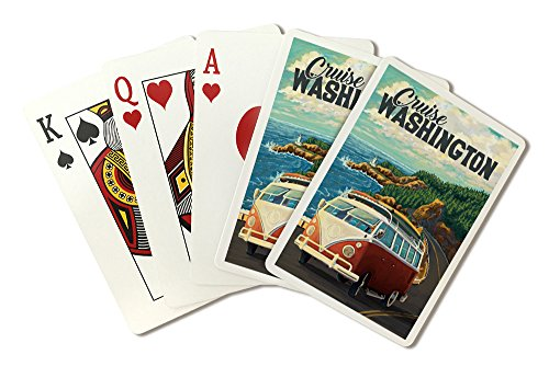 Cruise Washington - Camper Van Coastal Drive Cruise (Playing Card Deck - 52 Card Poker Size with Jokers) by Lantern Press