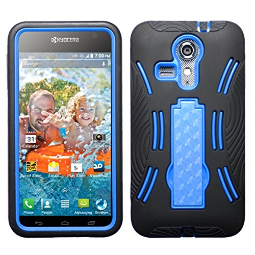 Asmyna Symbiosis Stand Protector Cover with Diamonds for Kyocera C6730 Hydro Icon - Retail Packaging - Blue/Black